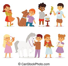 Toddler cartoon kids characters petting little pet in and...
