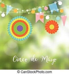 Mexican Cinco de Mayo greeting card, invitation. Party...