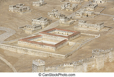 Model of Ancient Jerusalem Focusing on the Pool of Bethesda...