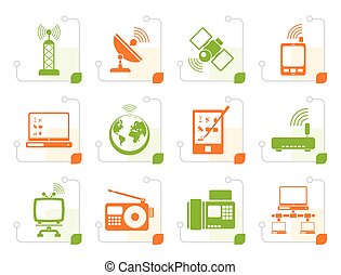 Stylized communication and technology icons - vector icon...