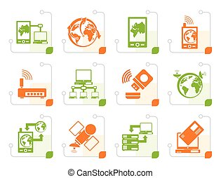 Stylized communication, computer and mobile phone icons