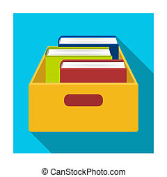 Books in box icon in flat style isolated on white...