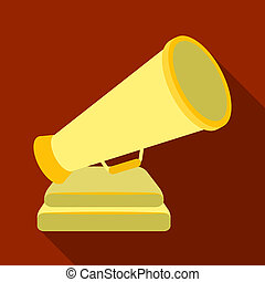 The prize in the form of a loudspeaker on a stand.The award for best Director.Movie awards single icon in flat style bitmap symbol stock illustration.