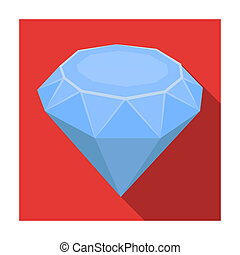 Diamond icon in flat style isolated on white background....