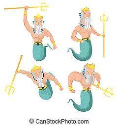 Poseidon Sea God Character Set Vector