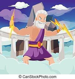 Greek God Thunder High Heaven Vector