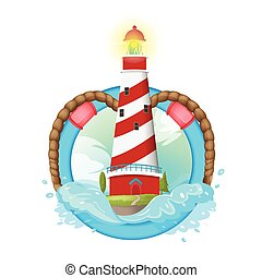 Lighthouse Symbol Logo illustration Design Vector