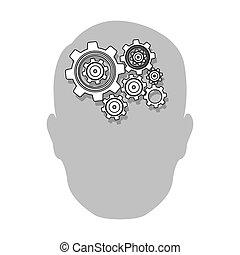 person gear brain icon