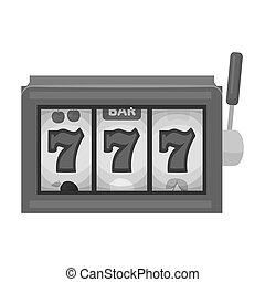 A slot machine in a casino. An automatic with a lever and a dial.Kasino single icon in monochrome style bitmap symbol stock illustration.