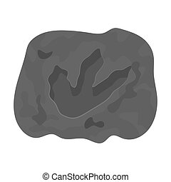 Rock with dinosaur footprint icon in monochrome style...