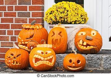 halloween pumpkins - six halloween pumpkins
