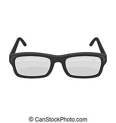 Glasses icon in monochrome style isolated on white...