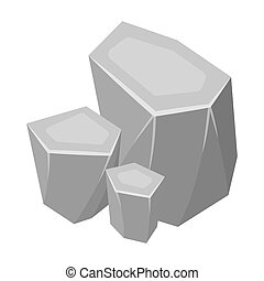 Light green rough gemstone icon in monochrome style isolated on white background. Precious minerals and jeweler symbol stock bitmap illustration.