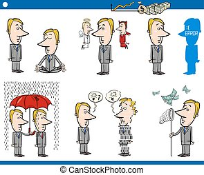 business concept cartoons set