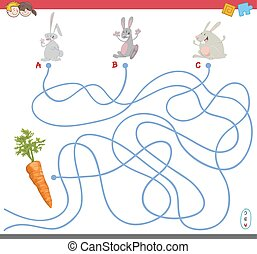 maze game with rabbit characters - Cartoon Illustration of...