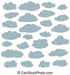 Cloud silhouettes collection. Set of vector cartoon cute simple clouds shapes