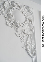 White wall molding with geometric shape and vanishing point....