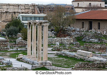 Sunset view of Hadrian's Library in Athens, Attica, Greece