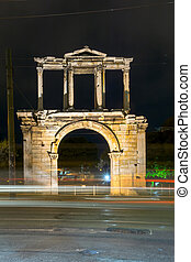 Nigh photo of Arch of Hadrian in Athens, Attica, Greece
