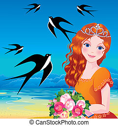 Princess - Beautiful princess against the sea background...