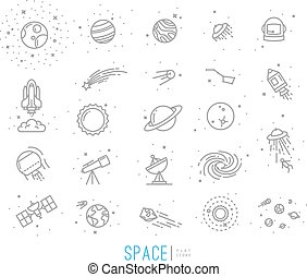 Space flat icons drawing with grey lines on white...