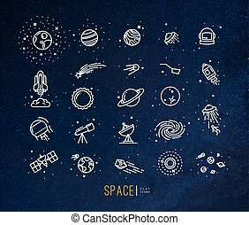 Space flat icons blue - Space flat icons drawing with white...