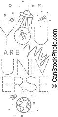 Poster my universe - Space poster in flat style lettering...