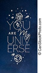 Poster my universe blue - Space poster in flat style...