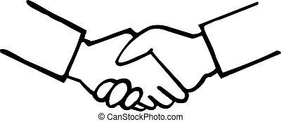 Business handshake hand drawing