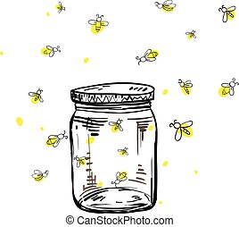 fireflies flying around the jar in hand drawing