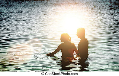 silhouette couple love man and woman