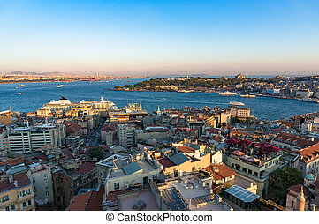 Aerial view of Karakoy and Beyoglu with view of Golden Horn...