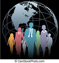 Global Business People Earth Globe on Black