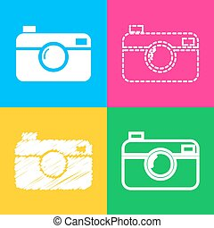 Digital photo camera sign. Four styles of icon on four color...