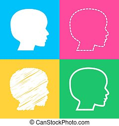 People head sign. Four styles of icon on four color squares.