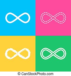 Limitless symbol illustration. Four styles of icon on four...
