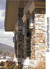 Stone entrance columns - Beautiful stone entrance on a...