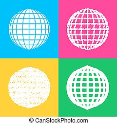 Earth Globe sign. Four styles of icon on four color squares.