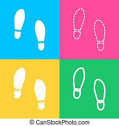 Imprint soles shoes sign. Four styles of icon on four color...
