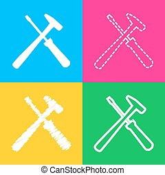 Tools sign illustration. Four styles of icon on four color...
