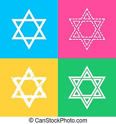 Shield Magen David Star. Symbol of Israel. Four styles of...