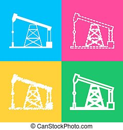 Oil drilling rig sign. Four styles of icon on four color...