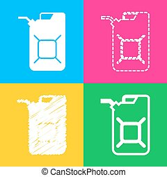 Jerrycan oil sign. Jerry can oil sign. Four styles of icon...