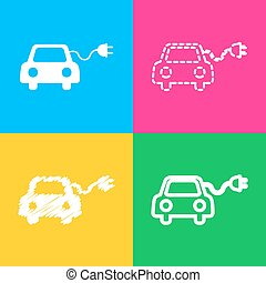 Eco electric car sign. Four styles of icon on four color...