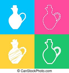 Amphora sign illustration. Four styles of icon on four color...