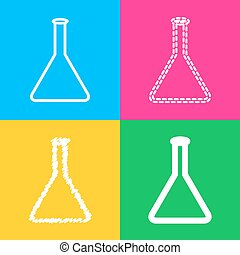 Conical Flask sign. Four styles of icon on four color...