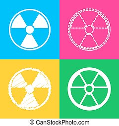 Radiation Round sign. Four styles of icon on four color...