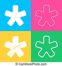 Asterisk star sign. Four styles of icon on four color...