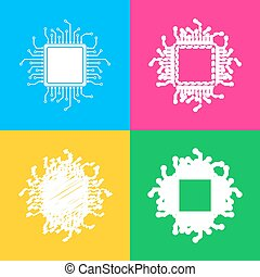CPU Microprocessor illustration. Four styles of icon on four...