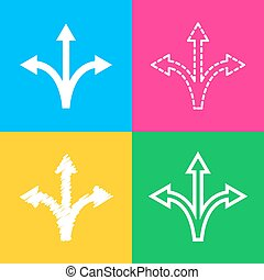 Three-way direction arrow sign. Four styles of icon on four color squares.
